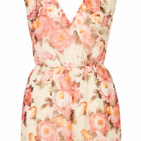 **MULTICOLOURED FLORAL WRAP PLAYSUIT BY RARE