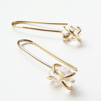 Herkimer Diamond Gold Hook Earrings