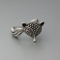 Retro Fox Adjustable Animal Rings,  Ring Women's Teen's Retro Burnished Jewelry Black Crystal Wrap Ring