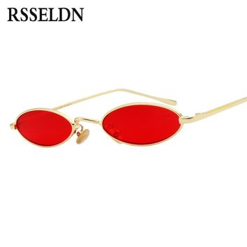 RSSELDN Brand Women Small Oval Sunglasses Fashion Metal Frame Men Clear Yellow Red Vintage Sun Glasses Female 2018 Shades UV400