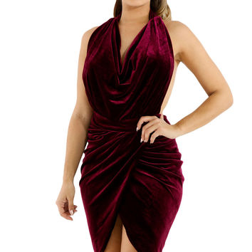 Draped Suede Open Back Bodycon Dress LAVELIQ