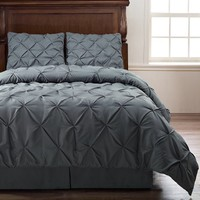 Pinch Pleat Comforter Set - 4-Piece - by ExceptionalSheets, Queen, Charcoal