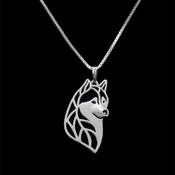 New  Unique Romantic Gold Silver Color Siberian husky head Pendant Necklace Hunger Games Necklace Women Best Friend Choker