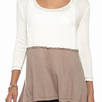 Love Always Color Block Thermal Knit Top