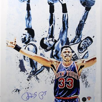 Patrick Ewing Light Signed 22x26 Canvas Signed in Blue