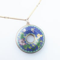 Round Cloisenne Blue Floral Pendent, Monet Gold Chain