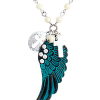 ANGEL WINGS AND CROSS Charm Necklace