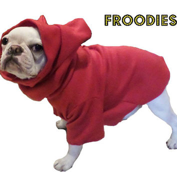 French Bulldog Boston Terrier FROODIES HOODIES USA Red Fleece Sweatshirt Coat Jacket