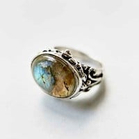 Large Moonstone Ring- Silver
