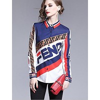 FENDI Autumn Classic Fashion Women Print Slim Long Sleeve Lapel Shirt Top