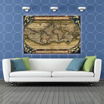 Antique Vintage World Map Canvas Print