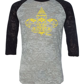 Aztec Fleur De Lis Simple Aztec Gold Burnout Baseball Tee