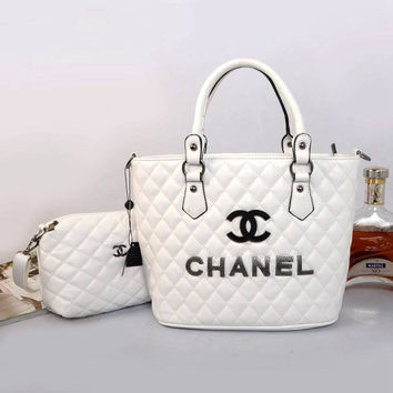 CHANEL Women Shopping Bag Leather Tote Handbag Shoulder Bag