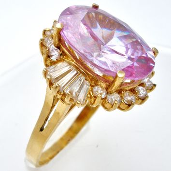 Lavender Ice CZ 10K Yellow Gold Ring Size 9.5