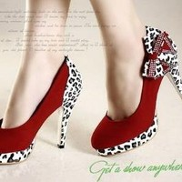 $119 Red Suade Leapard and Bow High Heel Shoes by modernvintageboutique on Sense of Fashion