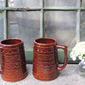 Mid Century Marcrest Daisy Dot Mugs Set of Two Chocolate Brown Serving Mugs 18oz. Mugs Coffee Mugs