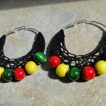 Crochet Beaded Earrings, Black Lacey Earrings, Red Yellow Green Wooden Beads, AfroCentric Accessory, Crochet Hoops
