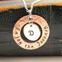 Enjoy the Journey 2014, Graduation Present, Hand Stamped Rustic Copper Necklace, Personalized with Initial, Monogram, Inspirational Jewelry