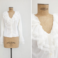 1960s Blouse - Vintage 60s White Ruffled Blouse - Poetessa Blouse