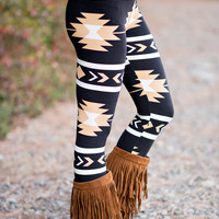 Tan Navajo Aztec Leggings