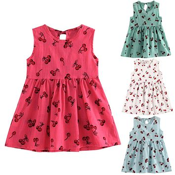 Baby Girls Dress 2017 Fashion Children Girls Fruit Printed Soft Sleeveless Beach Sundress Summer Princess Dress Clothes for 2-8Y