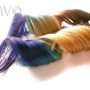 "12"" #2 Peacock Pop 100% human hair extensions Purple Blue Ombre Clip In Ombre"