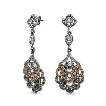 Pink Black Crystal Lace Chandelier Statement Earrings Plated Alloy