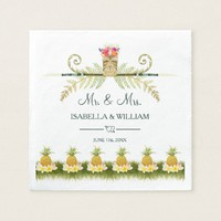 Elegant Floral Tropical Summer Wedding Napkin