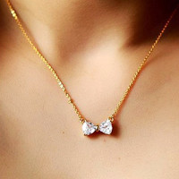 White Crystal Bow Gold Tone Necklace. Sweet Bling Ribbon Short Necklace