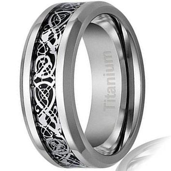 CERTIFIED 8MM Titanium Ring Wedding Band Celtic Dragon Design over Black Inlay