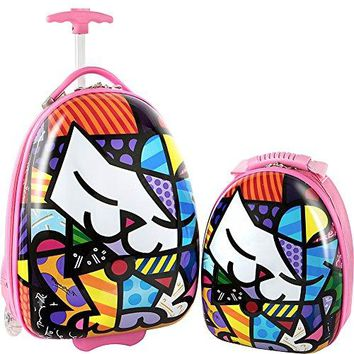 Heys America Britto Egg Shape Luggage with Backpack (Multi-Britto Kitty)