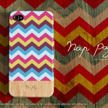 Apple iphone case for iphone iphone 5 iphone 4 iphone 4s iPhone 3Gs : Aztec Tribal Bohemian ( BoHo ) Chevron with wood (not real wood)