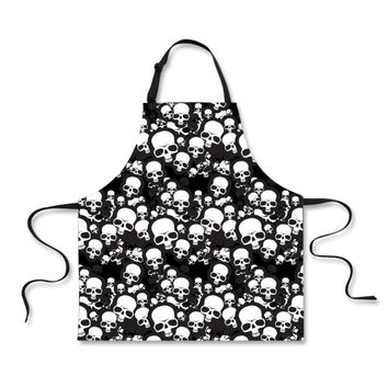 Aprons Skull Prints Kitchen Cooking Accessories