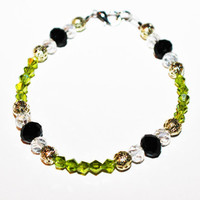 Green Beaded Crystal Bracelet with Silver Accents