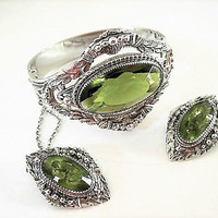 Peridot Silver Bracelet and Earrings, Whiting Davis Signed, Green Glass Cabochon Center,  Hinged Bangle