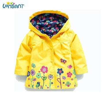 LONSANT Kid Raincoat Coat Outerwear Children Clothing Spring Autumn Jackets for Girls Waterproof Padded Jacket Dropshipping 1-6Y