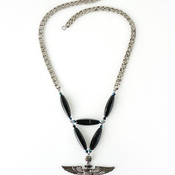 Naval Aviator Statement Necklace with Black Onyx Stones, American Navy Costume Jewelry