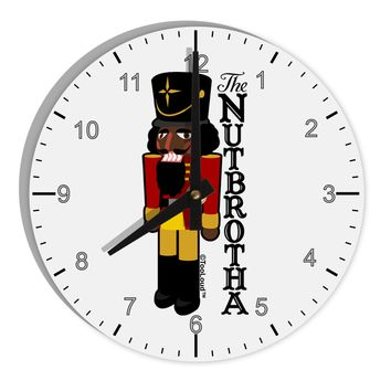 "The Nutbrotha - Black Nutcracker 8"" Round Wall Clock with Numbers by TooLoud"