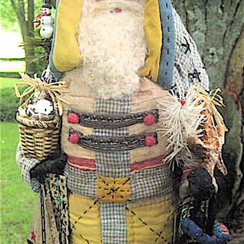 "OOAK Primitive Folk Art Santa-""SALTWATER SANTA"" w/Shell Basket-Original Design Handcrafted from Olde Quilt w/Handmade Starfish, Whale, Gifts"