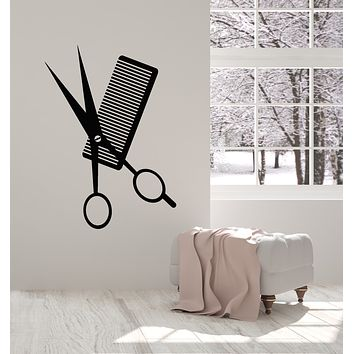 Vinyl Wall Decal Scissors Comb Barber Tools Beauty Salon Stylist Hair Stickers Mural (g1638)