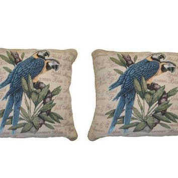 "Set of Two Parrots in Love Elegant Novelty Woven Square Throw Toss Accent Cushion Cover Pillow with Inserts - 2-Pieces - 18"" x 18"" (CC45X45CM156)"