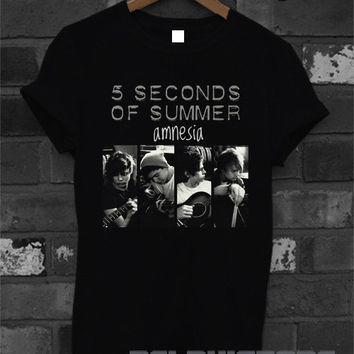 5sos shirt 5 second of summer amnesia logo shirt 5 sos t-shirt printed black unisex size (DL-48)
