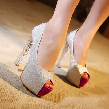 High Heel Peep Toe Crystal Summer Korean Shoes = 4814768324