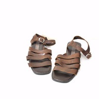 size 7 GRUNGE strappy brown leather minimalist sandals