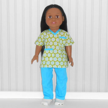 American Girl Doll Clothes Medical Nurse Scrubs Green and Turquoise with White Shoes fits 18 inch dolls
