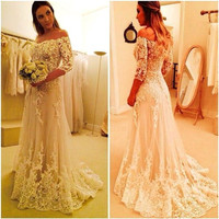 Romatic Lace Wedding Dress Off Shoulder Vestido de noiva tulle Wedding Gown a Line Vestido noiva robe de mariage