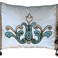 Italian Appliquéd Silk Velvet Pillow