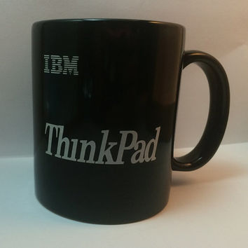 Vintage IBM Black Coffee Thinkpad Mug Rare Free US Shipping Great Techie Gift No Chips Black Trackpoint Ships Worldwide Geek Nerd Computers
