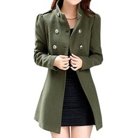 Hee Grand Women Wool Blends Double Breasted Long Sleeve Winter Coat