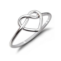 Fine Wire Heart Silver Ring with Love Knot